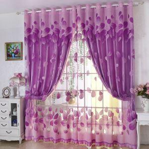 Voilage jacquard feuille violette simple élégant