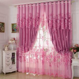 Voilage rose jacquard luxueux pivoine pour salon chambre à coucher style de village