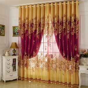Voilage jacquard luxueux pivoine jaune pour salon chambre à coucher