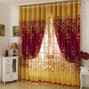 Voilage jacquard rameaux florifères pour chambre à coucher style de village américain