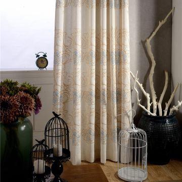 Rideau en coton lin brodé écologique simple