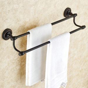 Barre de serviette en cuivre noire 2 barres ORB pour salle de bain antique