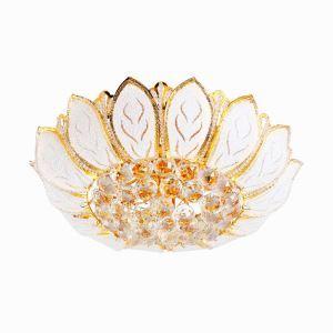 Plafonnier LED doré cristal D 50 cm lotus pour chambre