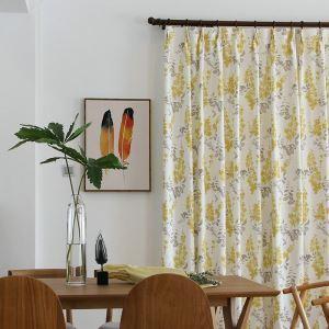 Rideau tamisant fleur jaune imprimé