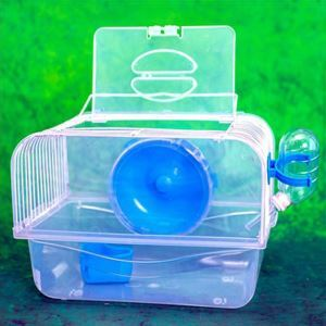 Cage de hamster bleu transparent
