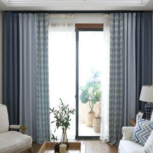 Rideau occultant jacquard dessin géométrique combinaison tricolore pour chambre à coucher salon