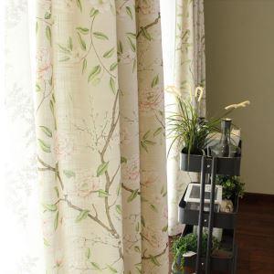 Rideau occultant imprimé en coton lin rameaux florifères pour chambre à coucher salon