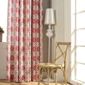 Rideau occultant imprimé en coton lin rouge pour chambre à coucher salon écologique classique