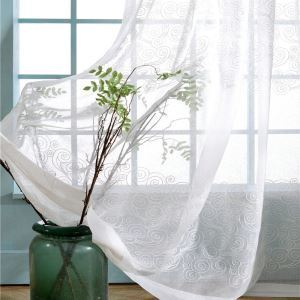 Voilage brodé respirant nuages pour chambre à coucher salon simple japonais