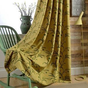 Rideau occultant en coton lin jaune écologique pour chambre à coucher salon simple japonais