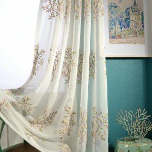 Voilage brodé arbre pour chambre à coucher simple moderne