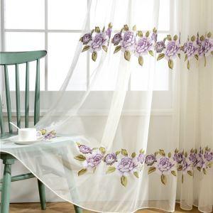 Voilage brodé fleur pourpre pour chambre à coucher simple américain