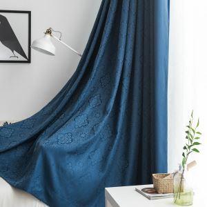 Rideau occultant jacquard bleu foncé épais pour chambre à coucher salon simple