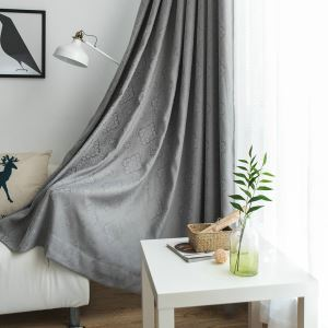 Rideau occultant jacquard gris épais pour chambre à coucher salon