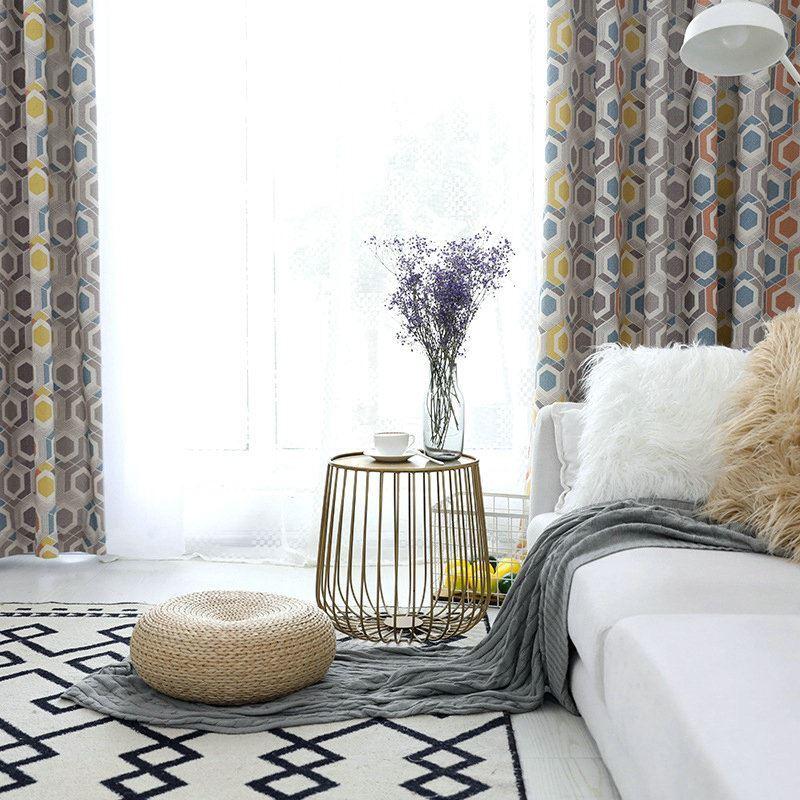 rideau occultant imprim en coton doux moderne. Black Bedroom Furniture Sets. Home Design Ideas