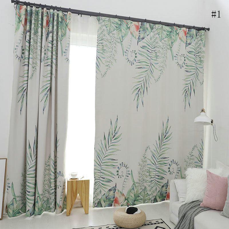 rideau occultant imprim feuille pour chambre coucher salon simple moderne. Black Bedroom Furniture Sets. Home Design Ideas