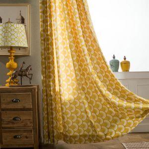 Rideau occultant imprimé en polyester-coton jaune pour chambre des enfants simple style de cartonn