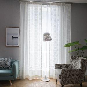 Voilage jacquard blanc simple pour chambre à coucher salon moderne