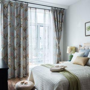 Rideau occultant imprimé écologique rameau florifère pour chambre à coucher pastoral moderne