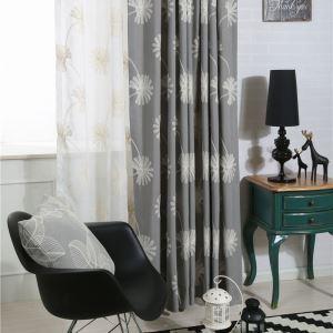 Rideau occultant brodé en coton écologique gris pissenlit pour chambre à coucher salon simple japonais