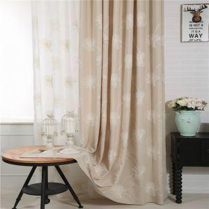 Rideau occultant brodé en coton écologique kaki pissenlit pour chambre à coucher salon simple japonais