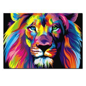 Tableau sans cadre photo lion couleur 30*45cm