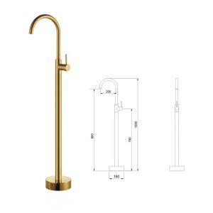 Robinet de baignoire laiton H109cm mitigeur or pour salle de bains