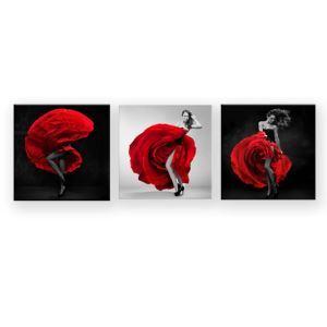 Tableau sans cadre robe rouge 30*30cm