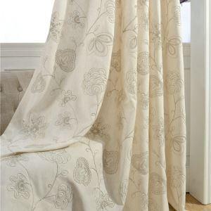 Rideau tamisant brodé en coton lin écologique pour chambre à coucher simple japonais