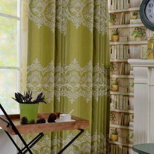 Rideau tamisant brodé en coton lin écologique vert pour chambre à coucher simple