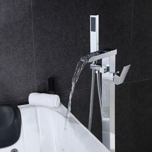 Robinet de baignoire avec douchette cuivre H88cm mitigeur chromé pour salle de bains