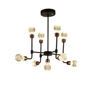 Lustre cristal bulle à 9 lampes rétro D 60 cm design pour restaurant salle bar