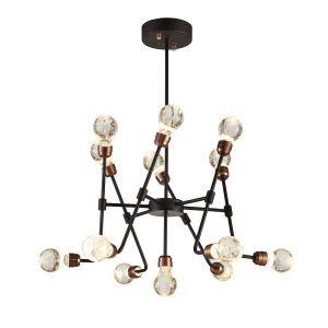 Lustre cristal bulle à 13 lampes rétro D 75 cm design pour restaurant salle bar