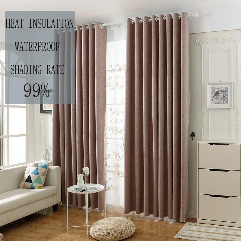 Rideau occultant couleur pure rose imperméable pour chambre à ...