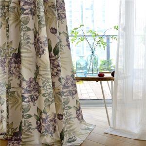 Rideau tamisant à motif fleur violette pour salle à manger chambre