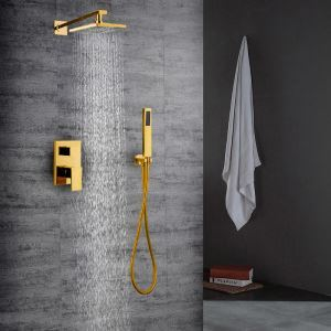 Colonne de douche avec robinetterie encasrtée cuivre or PVD pour salle de bains