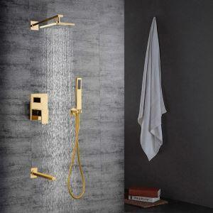 Colonne de douche avec robinetterie encasrtée cuivre or pour salle de bains