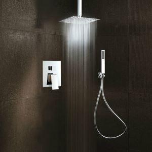 Colonne de douche avec pommeau de douche encastrée cuivre chromé pour salle de bains