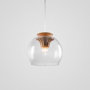 Suspension en bois naturel D 25 cm engrenage design pour cuisine restaurant couloir 1 LED ampoule offerte