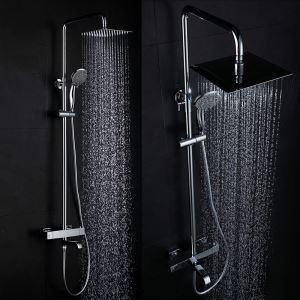 Colonne de douche avec douchette mitigeur D 20 cm chrome pour salle de bains