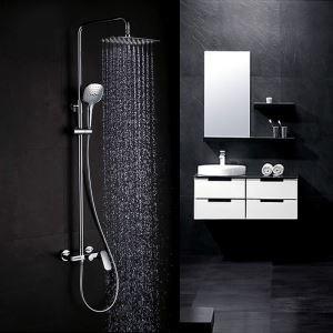 Colonne de douche encastrée avec douchette D 25.5 cm en cuivre chrome pour salle de bains