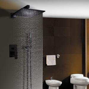 Colonne de douche encastrée avec douchette thermostatique D 20 cm peinture noir pour salle de bains