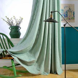 Rideau tamisant brodé en coton lin écologique vert pour chambre à coucher simple japonais
