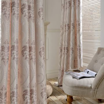 Rideau occultant jacquard en soie rose claire pour chambre à coucher ...