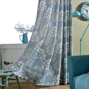 Rideau tamisant imprimé fleur bleu pour chambre à coucher simple japonais