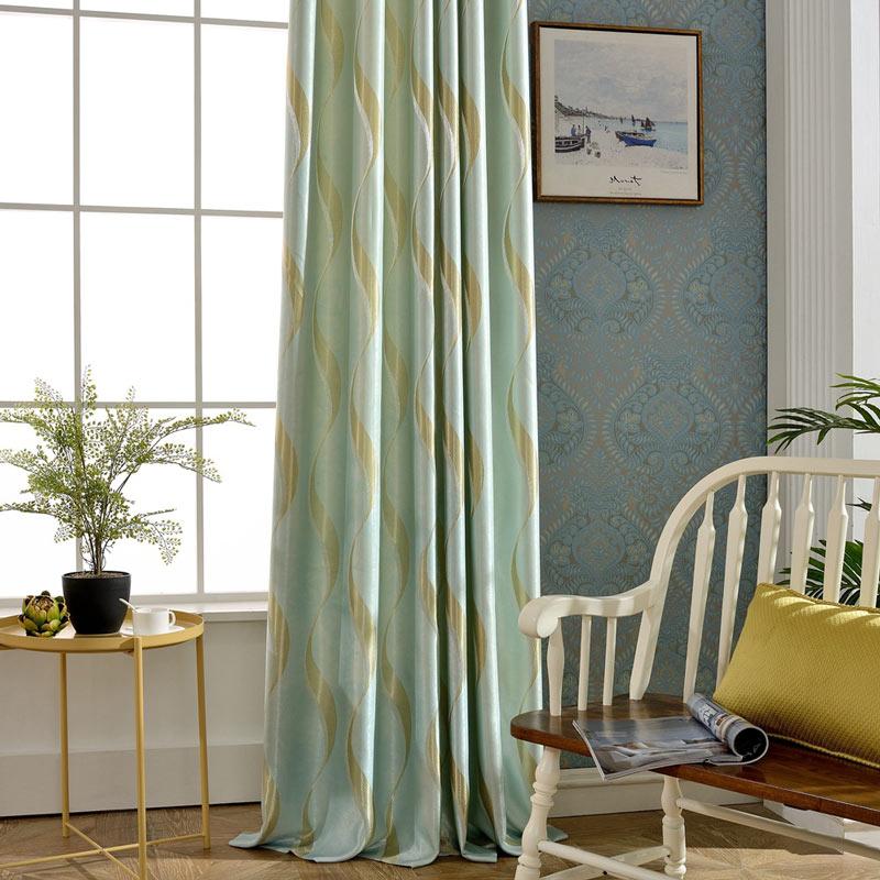 Rideau occultant jacquard vert en soie pour chambre à coucher simple ...