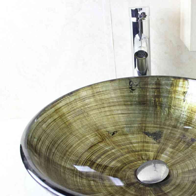 lavabo en verre tremp d 42 cm rond noir pour salle de bain. Black Bedroom Furniture Sets. Home Design Ideas