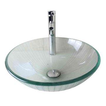 Vasque à poser verre trempé D 42 cm rond pour salle de bain