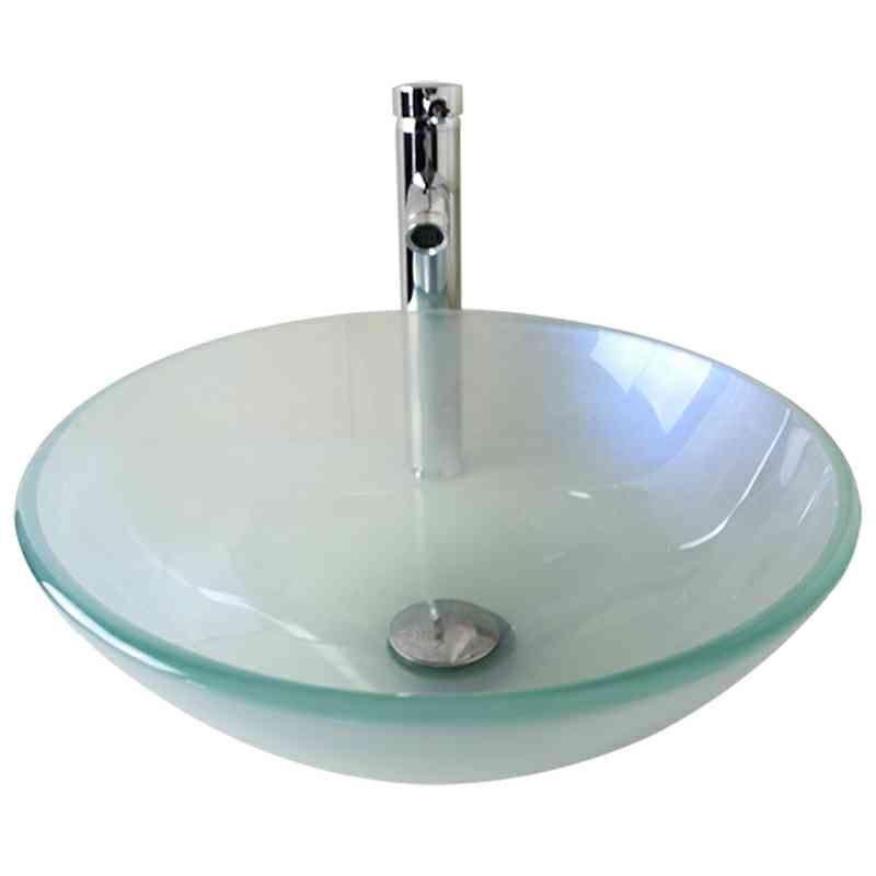 lavabo en verre tremp d 42 cm rond pour salle de bainspour salle de bains. Black Bedroom Furniture Sets. Home Design Ideas