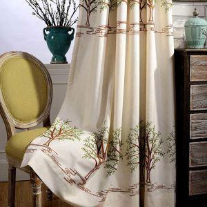Rideau tamisant brodé en coton lin arbre pour chambre à coucher simple moderne